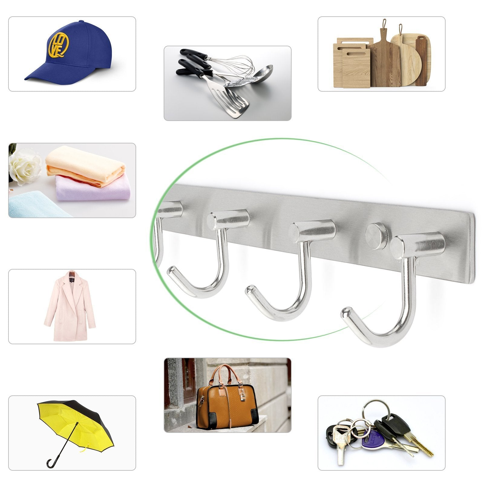 Storage arks royal wall coat hooks solid stainless steel hanger rail durable hook rack for clothes bags or keys brushed stainless steel finish 8 hooks