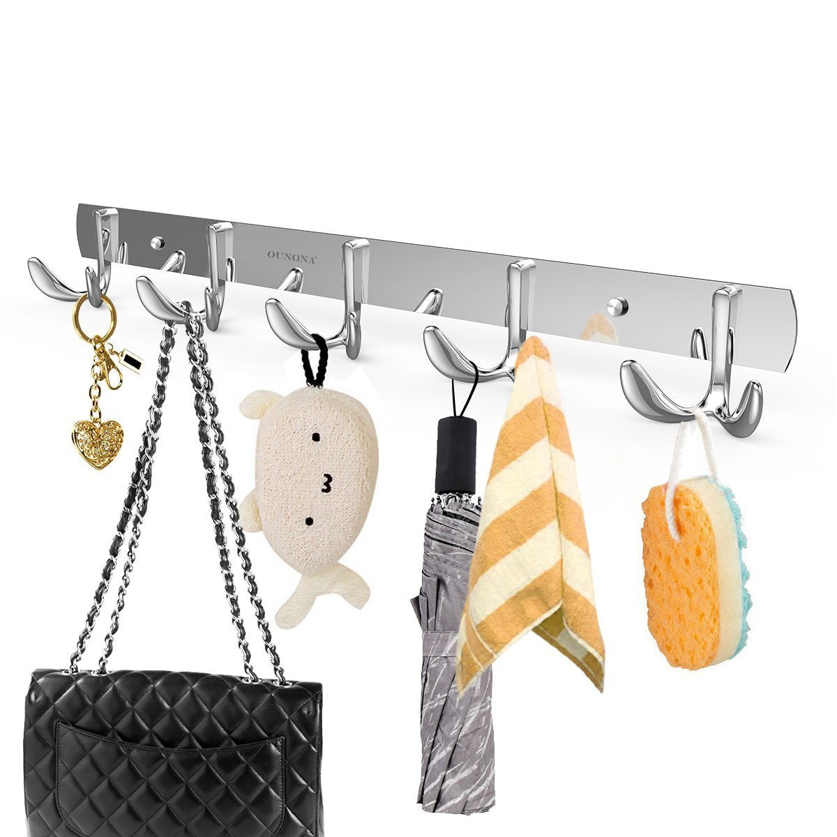 Select nice ounona wall coat rack coat hooks wall mounted stainless steel hook rack for clothes 10 hooks