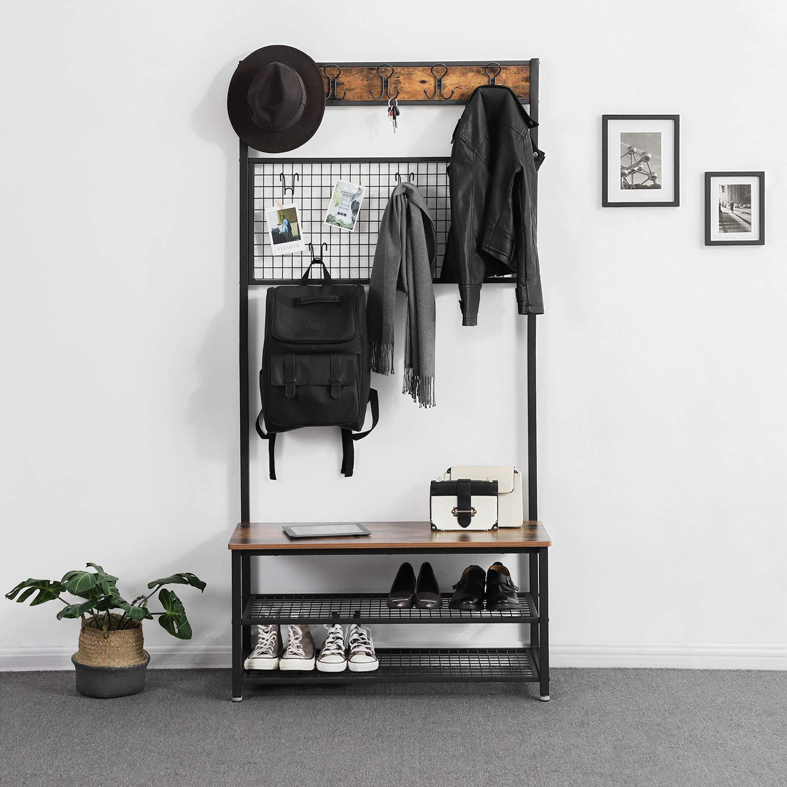 Select nice vasagle industrial coat stand shoe rack bench with grid memo board 9 hooks and storage shelves hall tree with stable metal frame rustic brown uhsr46bx