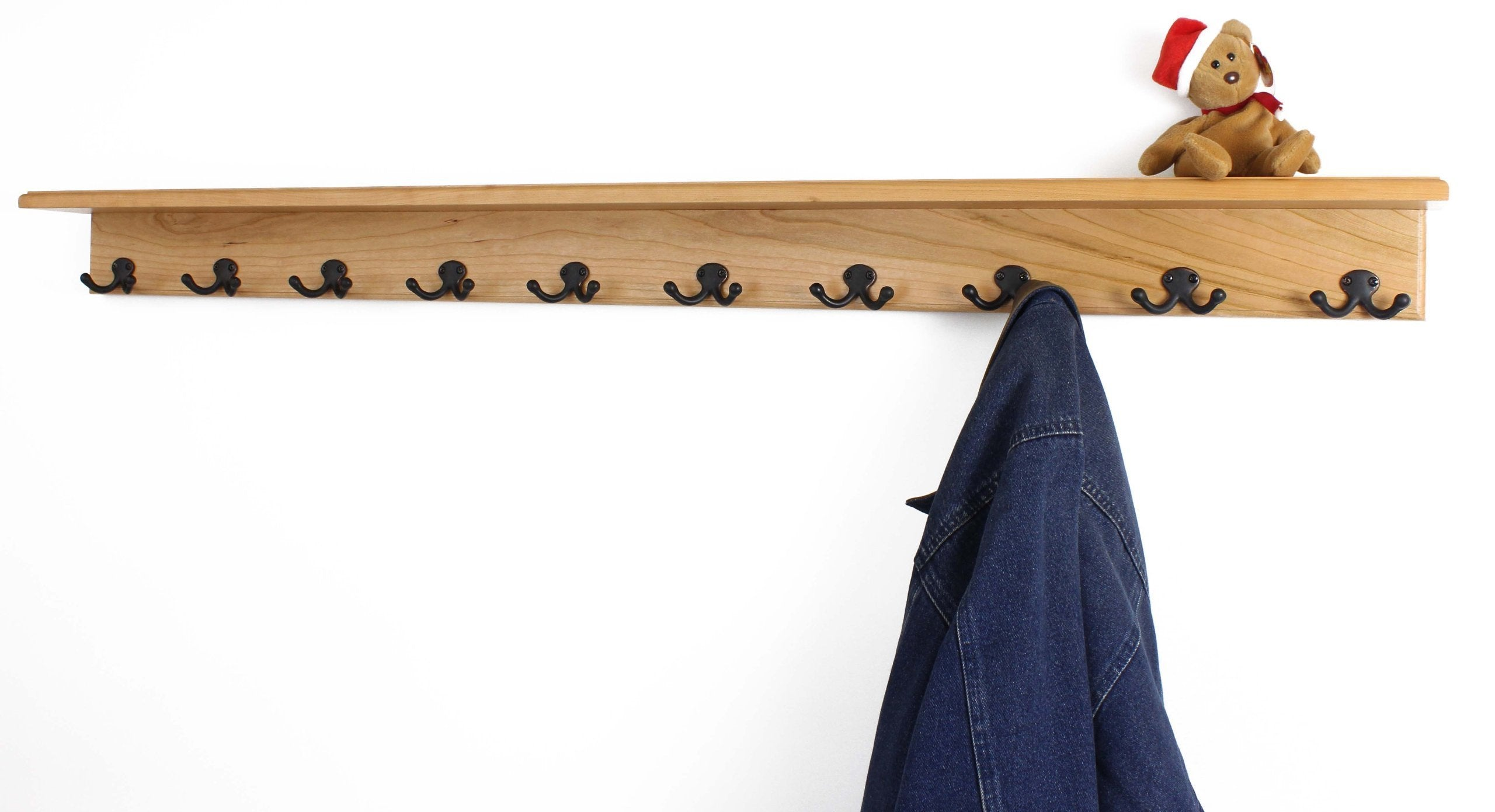 On amazon pegandrail solid cherry shelf coat rack with aged bronze double style hooks made in the usa natural 53 with 10 hooks