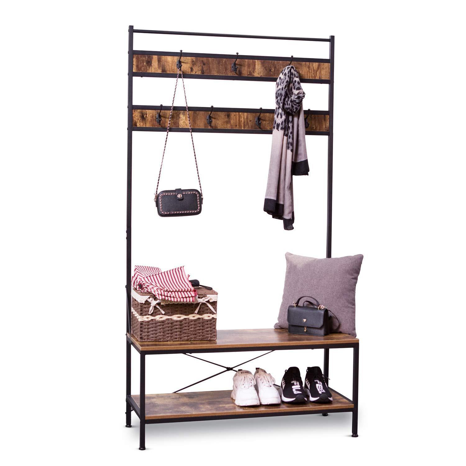 Exclusive ironck coat rack free standing hall tree industrial entryway organizer coat stand with storage bench mdf board multifunctional sturdy metal frame large size