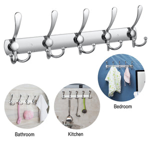 Home wall mounted coat hook rack 2 pack 30 hooks stainless steel coat hangers rack robe hat hooks with sticker