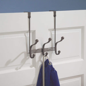 Buy idesign york metal over the door organizer 3 hook rack for coats hats robes towels bedroom closet and bathroom 11 25 x 9 x 2 set of 2