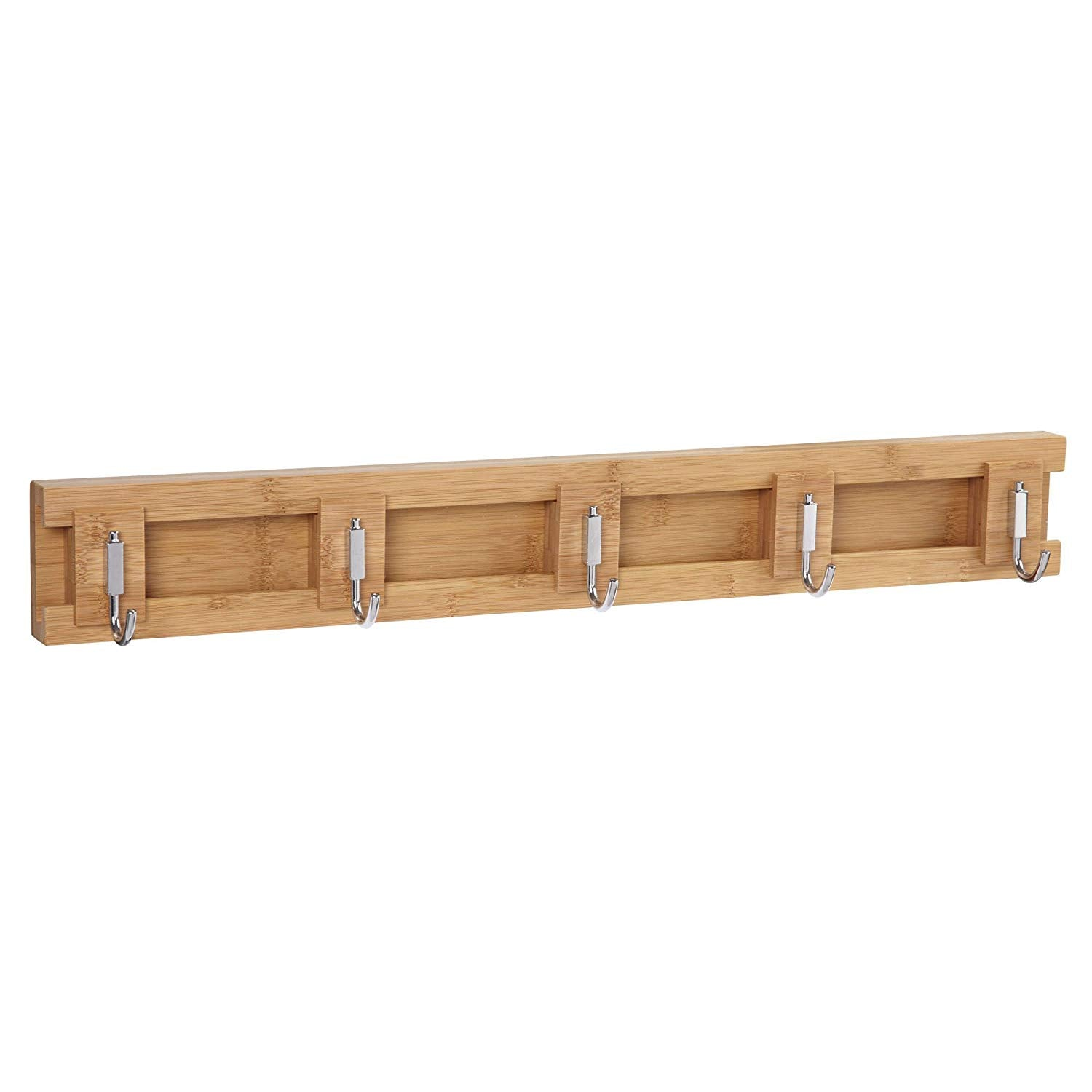 Household Essentials Bamboo Sliding 5-Hook Wall Coat-Hat Rack, Natural