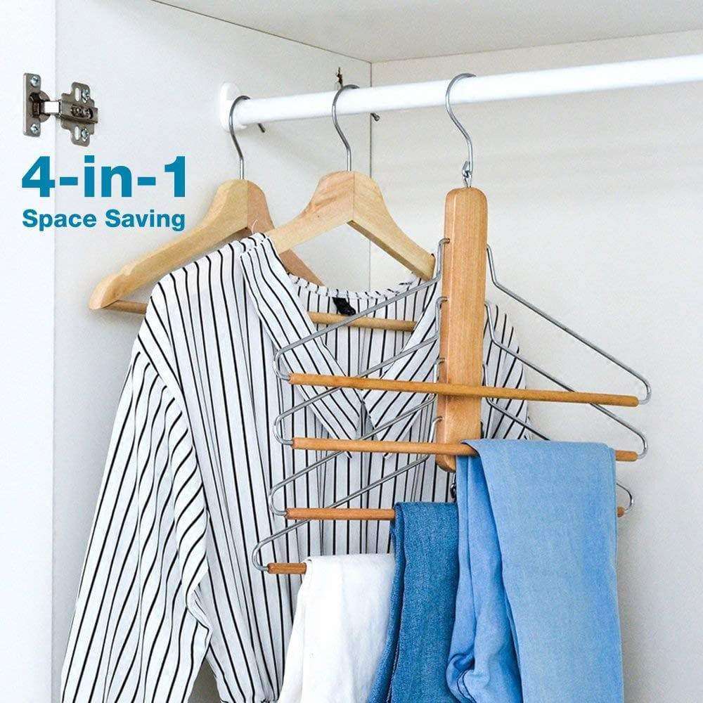Storage organizer bestool pants hangers wooden pant hangers non slip wood hangers clothes hangers for closet space saving heavy duty coat hanger huggable baby hangers dual use trouser hanger