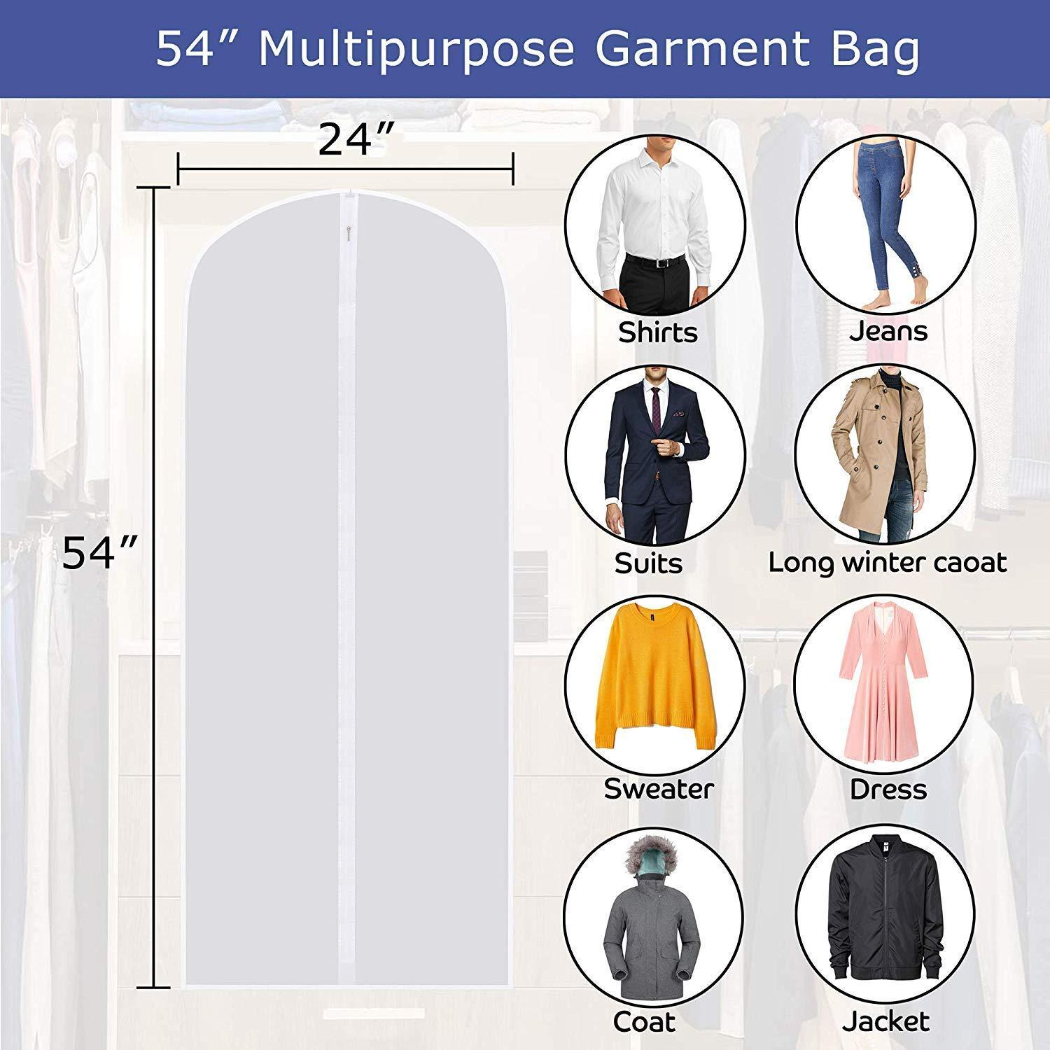 Online shopping skyugle clear garment bags dress cover 24 x 54 breathable hanging clothes storage protector for dance costumes suit coat plastic garment cover with sturdy zipper 7 pack