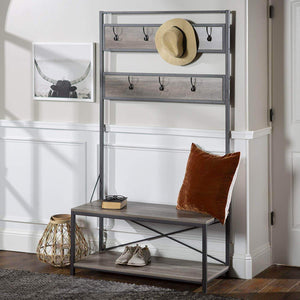 Top rated simple living products industrial hall tree rustic entryway storage organizer antique look bench with coat rack made from wood and metal gray wash