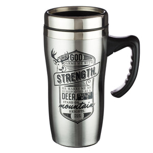 God Arms Me With Strength Psalm 18 Stainless Steel Travel Mug with Lid and Handle (16 Oz Double-Wall Vacuum Insulated Coffee Cup)