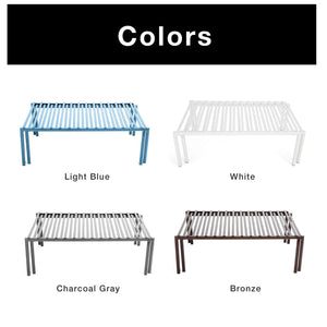 Selection smart design premium kitchen storage shelf w plastic feet expandable steel metal frame rust resistant coating counter pantry shelf organization kitchen 16 32 x 6 inch light blue