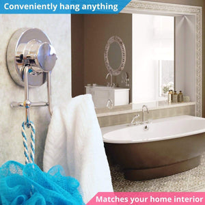 Organize with home so towel hook with suction cup holder bathroom shower kitchen storage organizer hanger for bath robe towel coat loofah stainless steel chrome 2