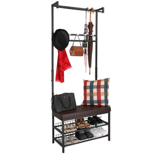 Amazon hromee vintage 4 in 1 hall tree with leather bench 5 coat rack hooks metal and wood shoe shelf organizer for entryway foyer
