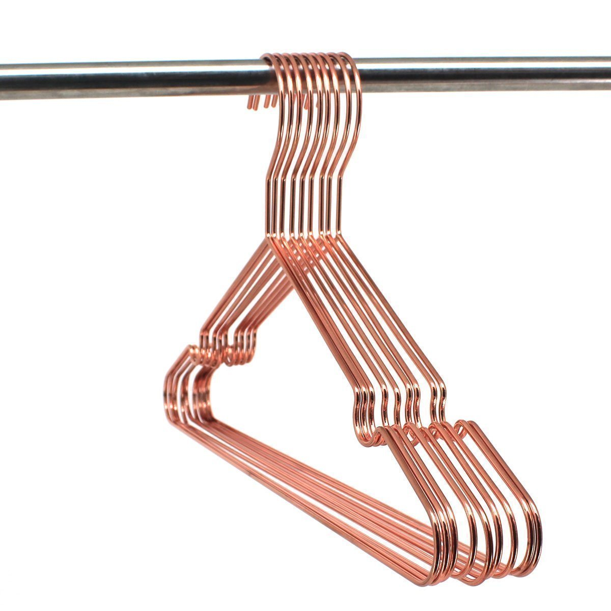 Amazon koobay 30pack 17 rose shiny copper clothes metal wire hanging hangers for shirts coat storage display