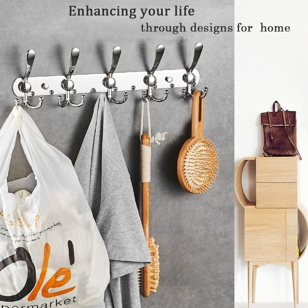 Discover besy wall mounted coat hooks self adhesive clothes robe hat rack rail with 15 hooks for bathroom kitchen office drill free with glue or wall mount with screws chrome plated 2 packs