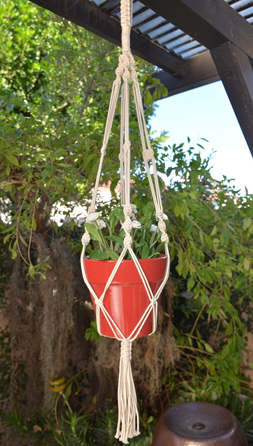 "Handmade Macrame Home & Garden Plant Hanger, Holder, planter | Boho Decor | 41"" (1, Style 09)"