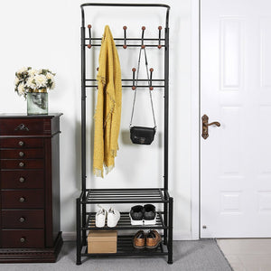 Buy fyheart heavy duty coat shoe entryway rack with 3 tier shoe bench shelves organizer with coat hat umbrella rack 18 hooks for hallway entryway metal black