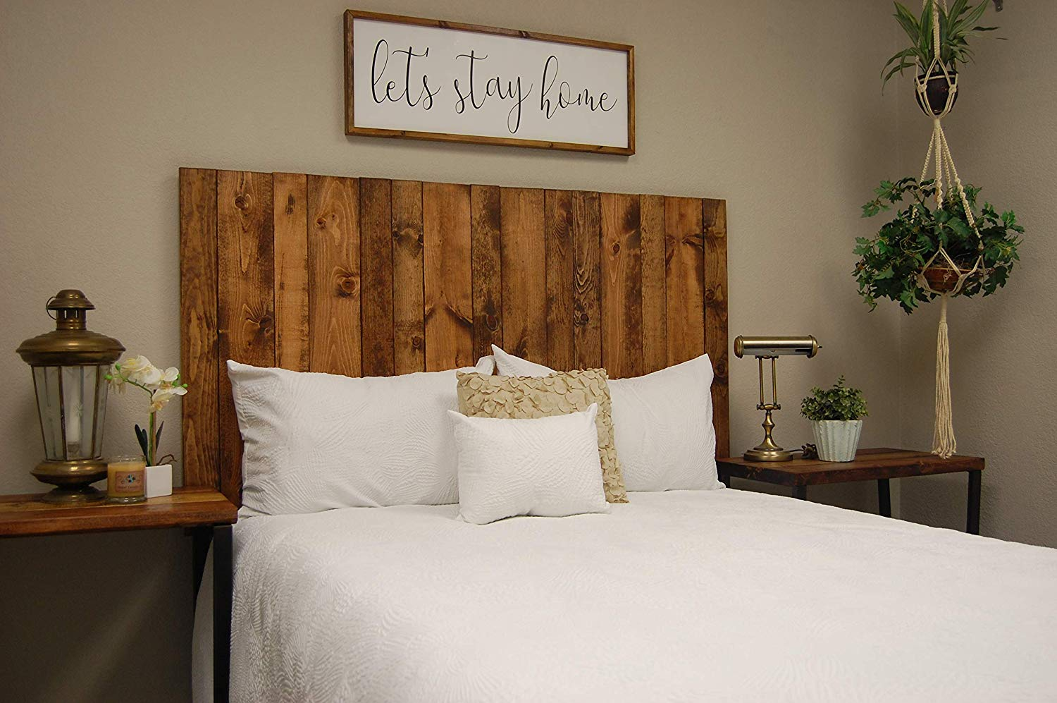 Honey Headboard King Size Stain, Hanger Style, Handcrafted. Mounts on Wall. Easy Installation