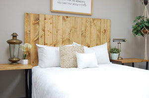 Golden Oak Headboard Queen Size Stain, Hanger Style, Handcrafted. Mounts on Wall. Easy Installation
