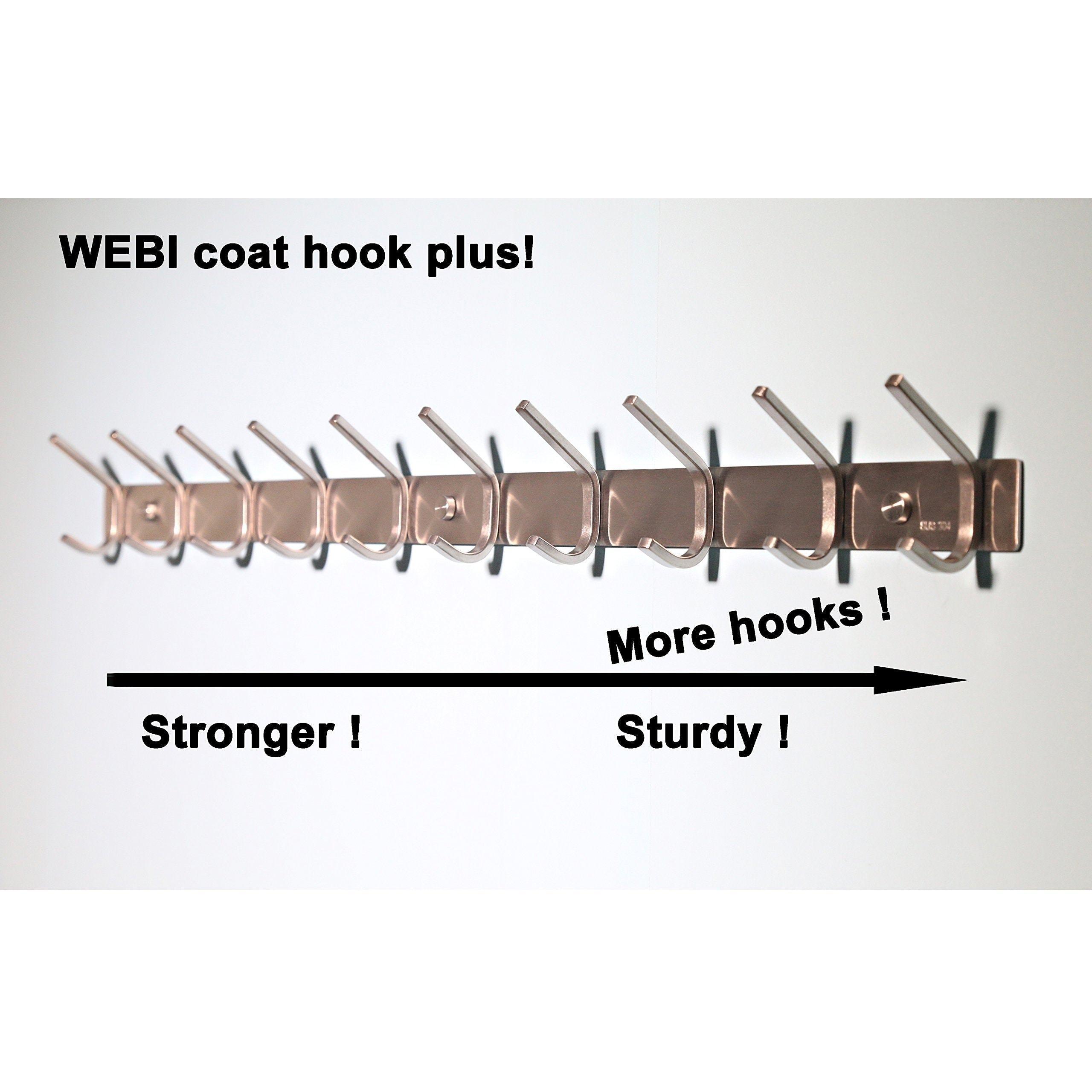 Top rated 10 hooks webi heavy duty stainless steel 304 hook rail coat rack with 10 hooks satin finish great home storage organization for bedroom bathroom foyers hallways 2packs