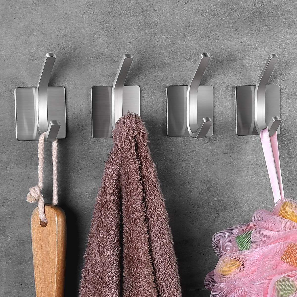 Discover fle coat hooks adhesive hooks bathroom towel hooks wall hooks stainless steel hooks bath robe hook wall mount 4 pack