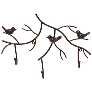 MyGift Wall Mounted Rustic Bronze Decorative Metal Tree Branch Design 3 Coat Hooks Storage Hanger Rack
