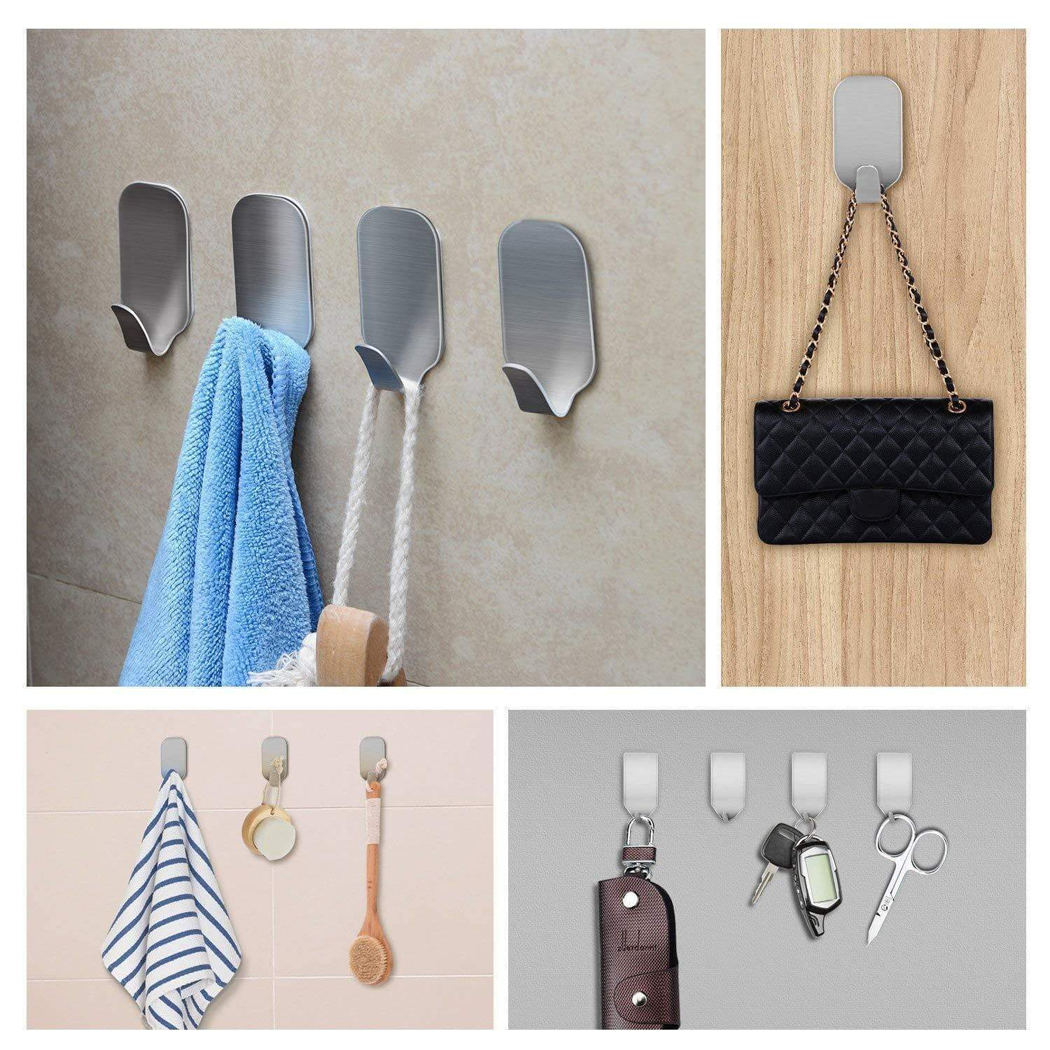 Kitchen amoner adhesive hooks heavy duty wall hooks stainless steel ultra strong waterproof hanger for robe coat towel keys bags home kitchen bathroom set of 16
