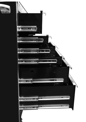 Products extreme tools ex7218rcbk 18 drawer triple bank roller cabinet in ball bearing slides 72 inch black high gloss powder coat finish