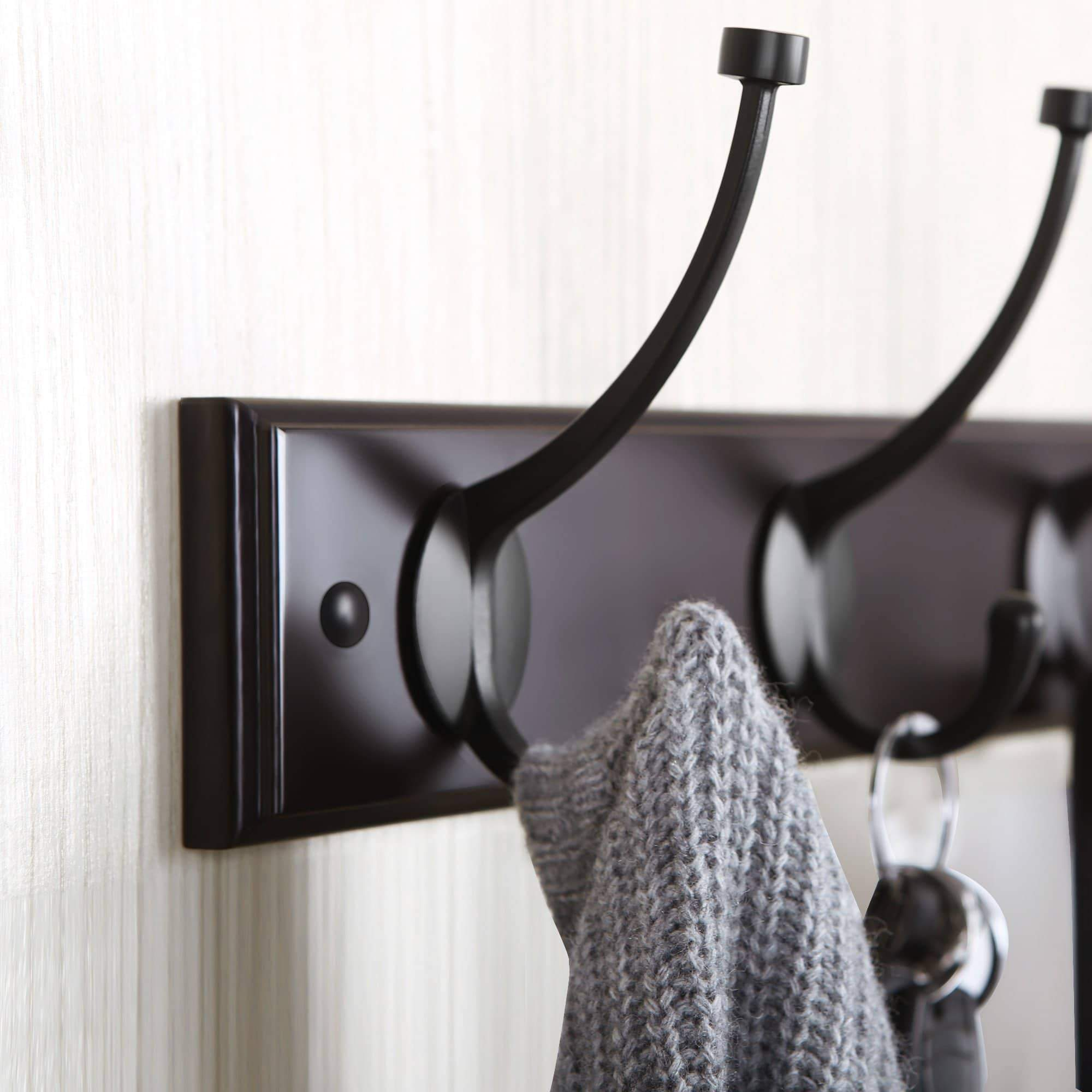 Storage songmics wooden wall mounted coat rack 16 inch rail with 4 metal hooks for entryway bathroom closet room dark brown ulhr20z