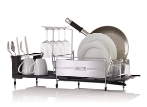 Amazon sabatier 5199813 expandable stainless steel dish rack with rust resistant soft coated wires and bi directional spout silver gray