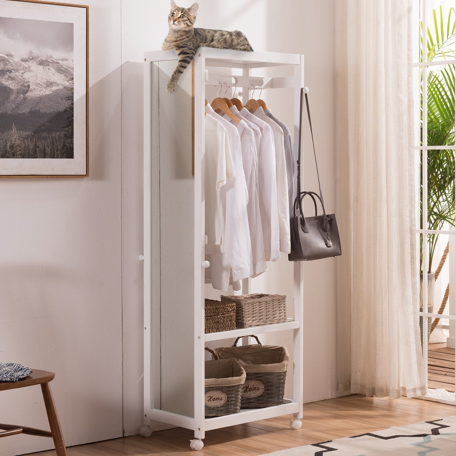 Latest free standing armoire wardrobe closet with full length mirror 67 tall wooden closet storage wardrobe with brake wheels hanger rod coat hooks entryway storage shelves organizer ivory white