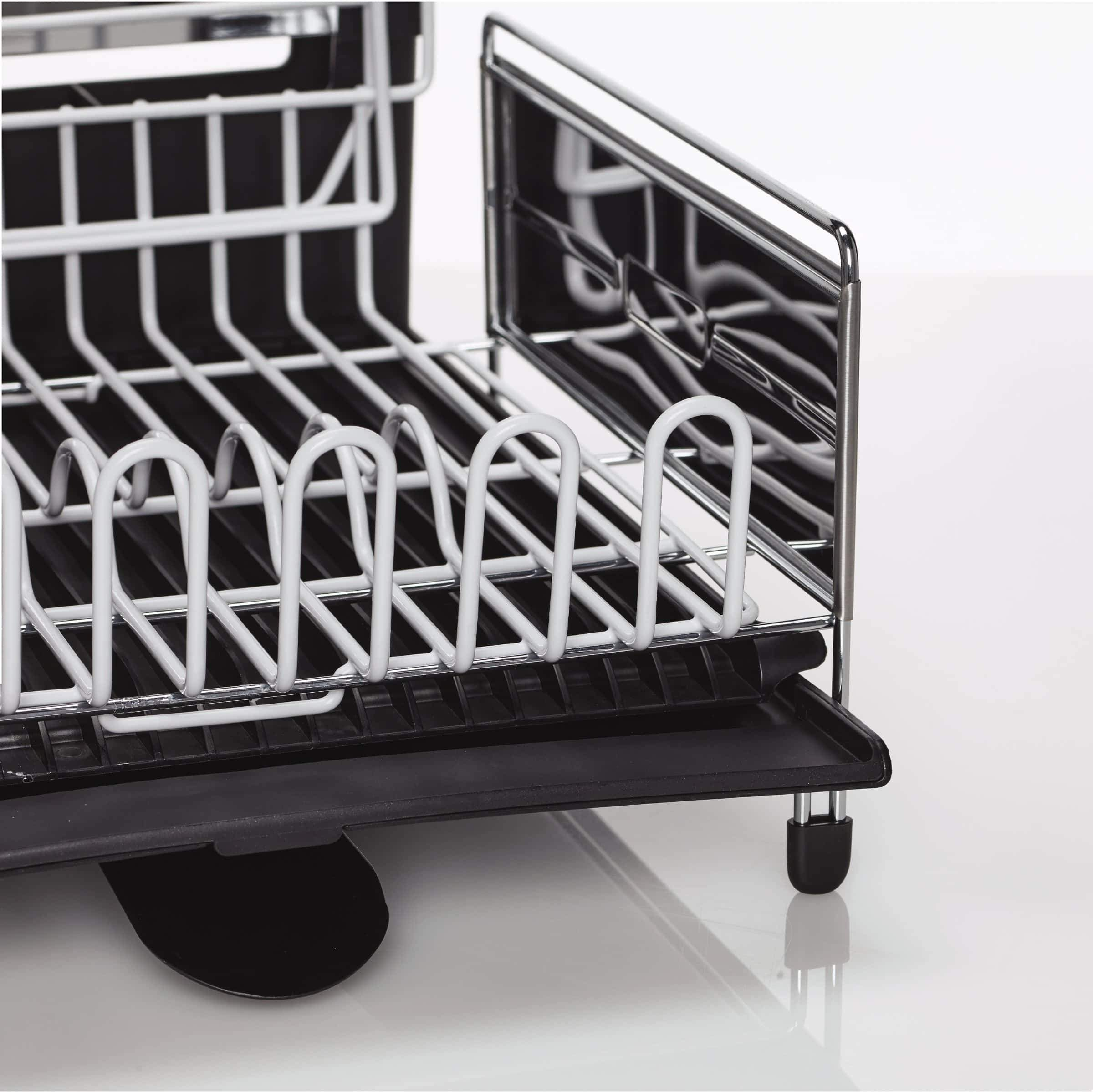 Amazon best sabatier 5199813 expandable stainless steel dish rack with rust resistant soft coated wires and bi directional spout silver gray