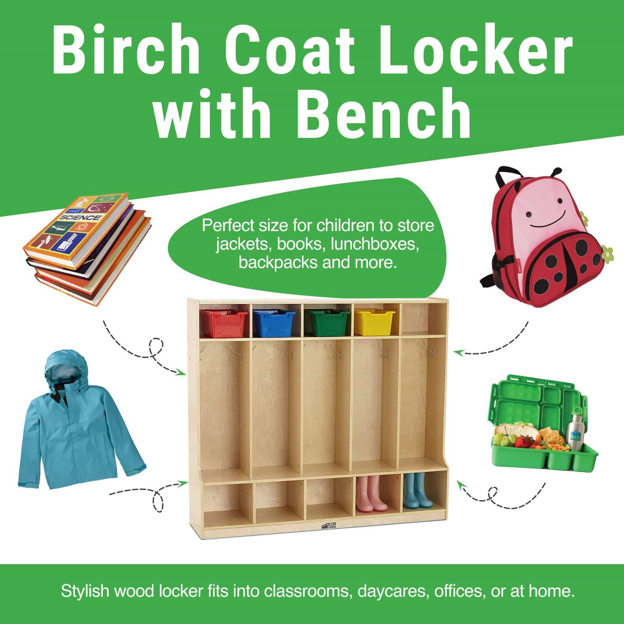 Order now ecr4kids birch school coat locker for toddlers and kids 5 section coat locker with bench and cubby storage shelves commercial or personal use certified and safe 48 high natural