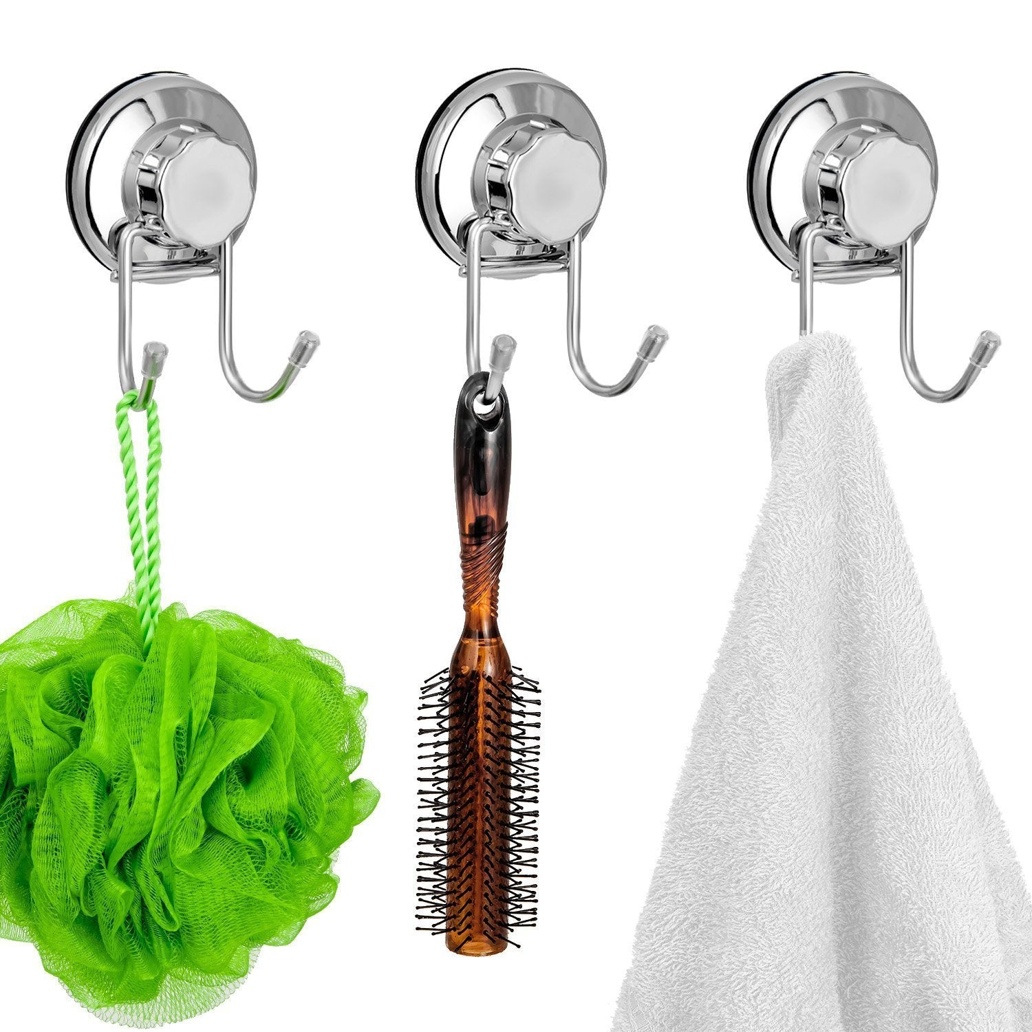 Products sanno vacumn hook suction cups for flat smooth wall surface towel robe bathroom kitchen shower bath coat neverrust stainless steel 3 pack