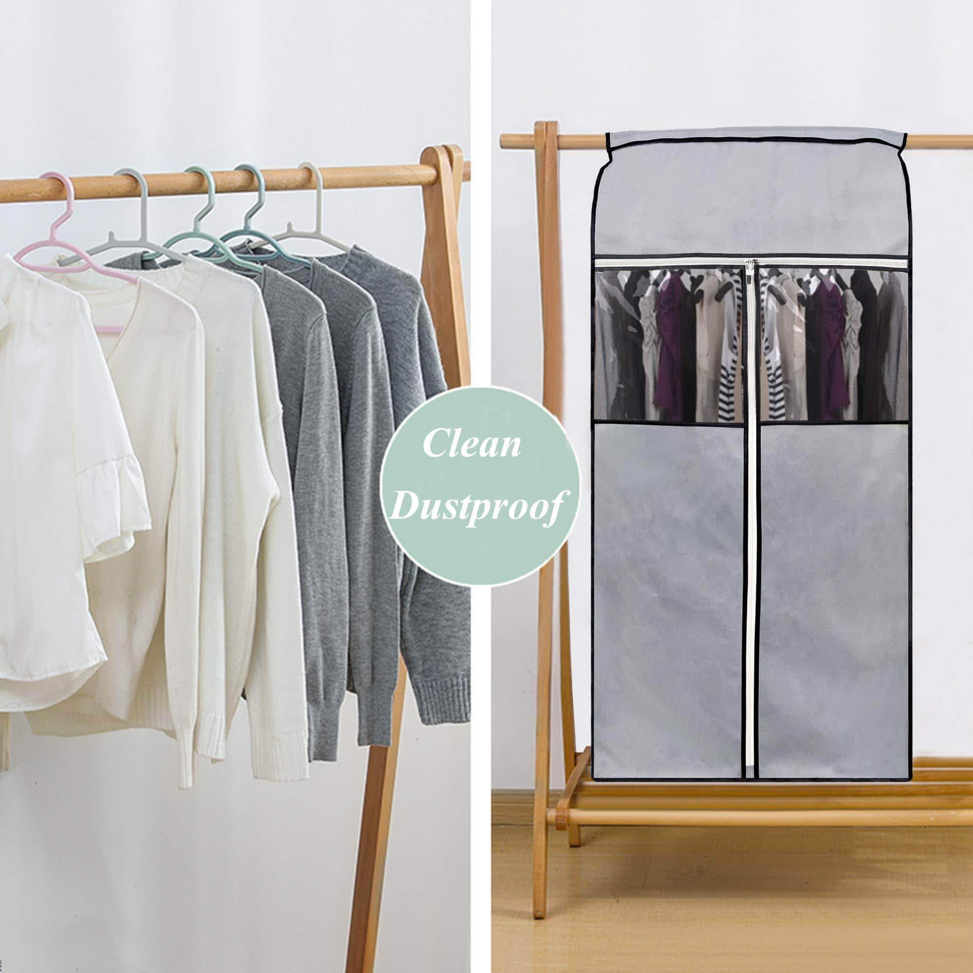 Buy sleeping lamb garment bag organizer storage with clear pvc windows garment rack cover well sealed hanging closet cover for suits coats jackets grey