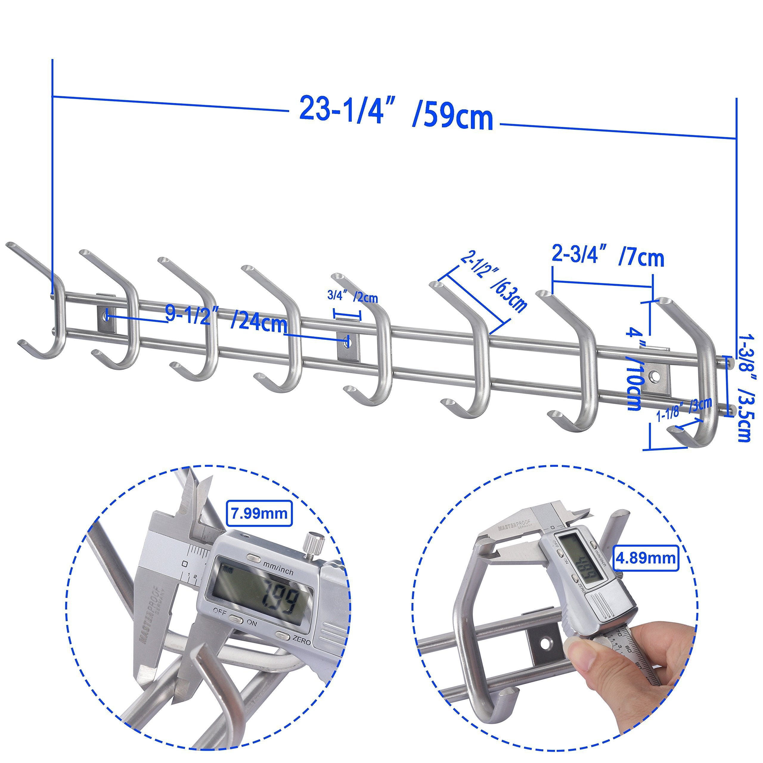 Best seller  webi wall mounted coat hooks stainless steel 304 heavy duty c wall hooks rail robe hook rack for bathroom kitchen entryway closet b c cbg08 2 8 hooks satin 2 pack