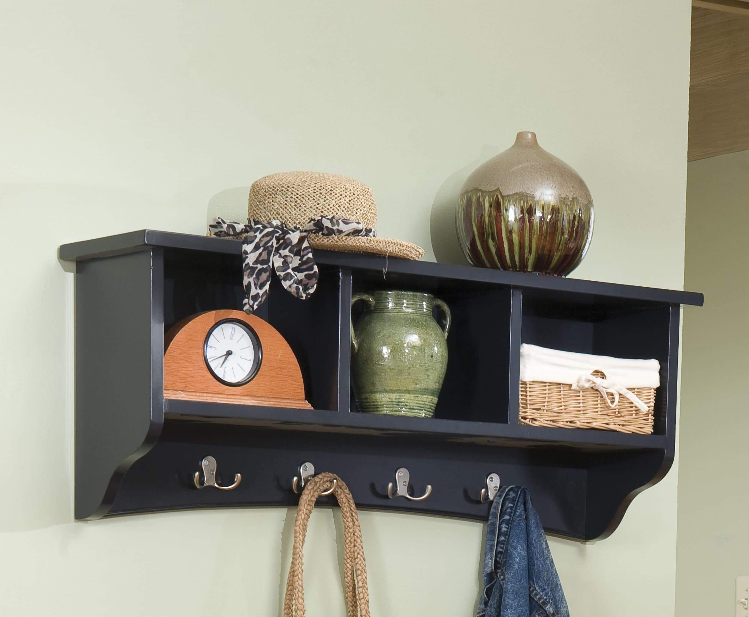 Discover the alaterre shaker cottage wall mounted coat hooks with 3 cubbies charcoal gray