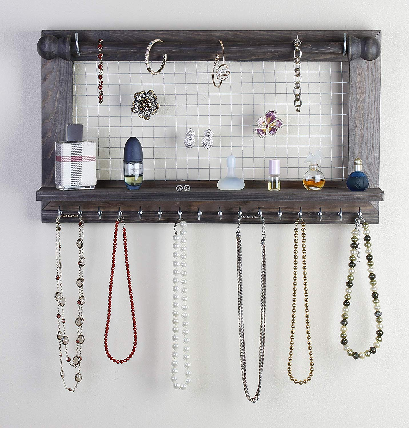 "Hanging Jewelry Organizer | Wall Mounted Wooden Holder for Necklace, Earrings, Bracelets, Rings & Other Accessories | With Hooks, Shelf, Wire Grid & Removable Bar | 17.5"" x 10"" Size 
