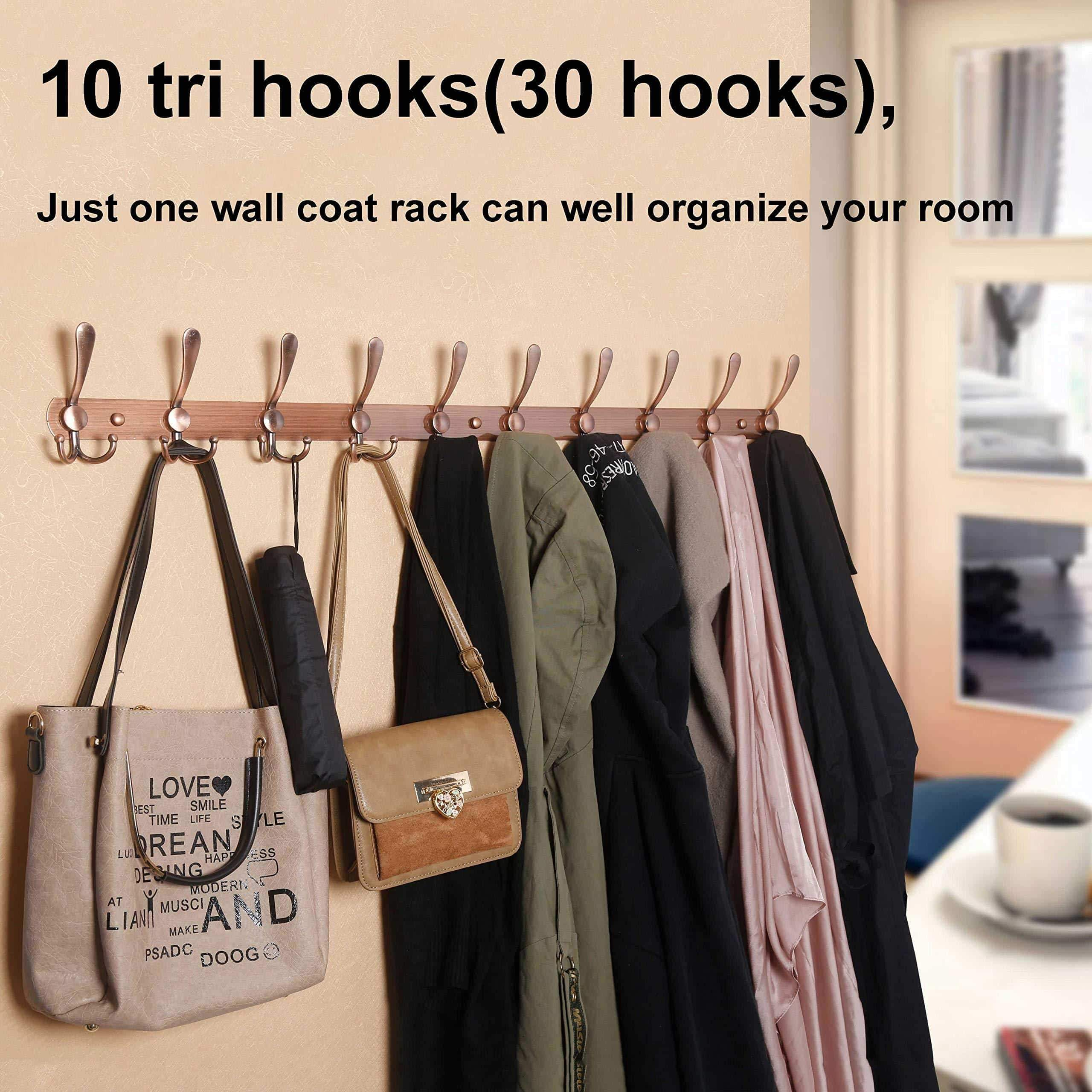 Save webi coat rack wall mounted 16 hole to hole center10 tri hook for hanging coats metal coat hook rack rail wall coat rack with hooks coat hanger wall mount for entryway jacket antique copper 2 pcs