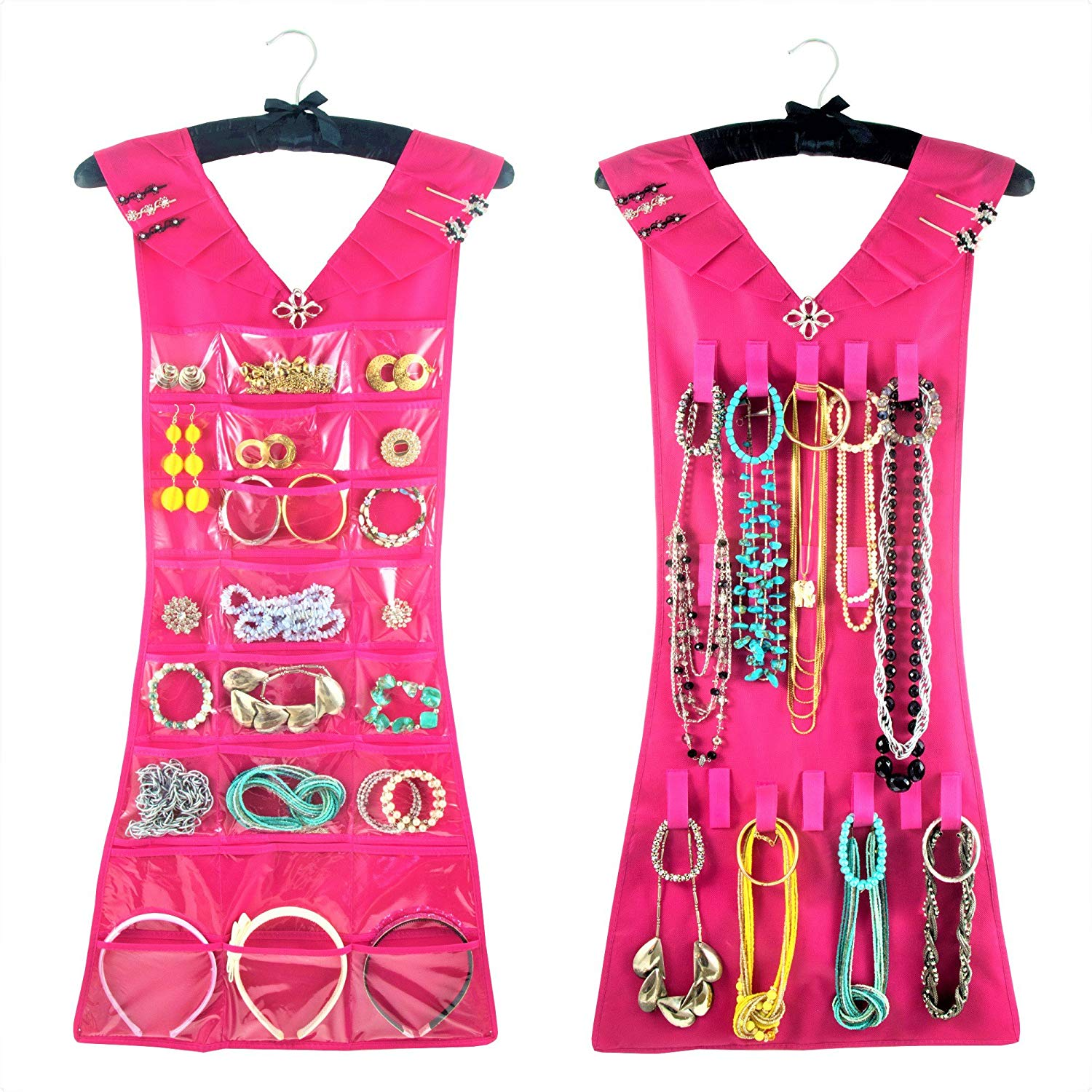 Hanging Jewelry Organizer, Closet Storage with Satin Hanger, 2 Sided for Jewelry, Hair Accessories & Makeup (1-Pink Dress & Black Satin Hanger, 24 Pockets 17 Hooks)