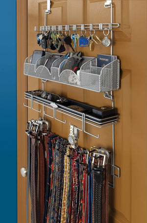 The best mens over the door wall belt tie valet organizer silver powder coat high quality mens organizer by longstem patented rated best now also in black 9200