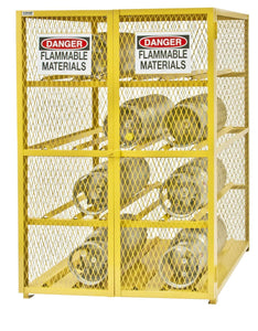 Budget durham steel iron horizontal cylinder storage cabinet egcc12 50 12 cylinder capacity 42 length x 50 width x 71 3 4 height yellow powder coat finish