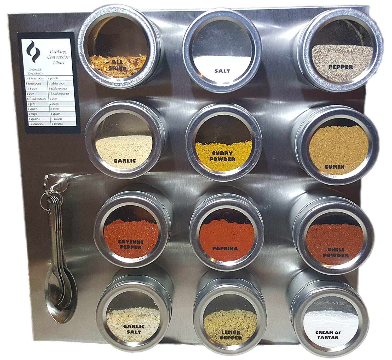 Magnetic Spice Rack (12 Spice Tins [3.4 oz. Jars], Stainless Steel Wall Plate, Spice Labels, Measuring Spoons, Cooking Chart)