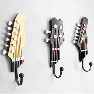3PCS Creative Guitar Shape Wall Hooks Home Decoration Resin Hook Vintage Style Storage Rack Bedroom Door After 3D  Hanger