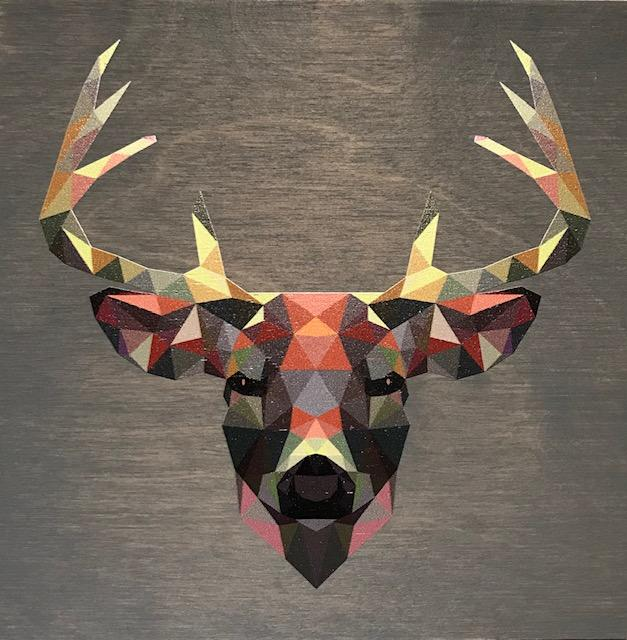 Clearance: Geometric Deer, 22 x 22 Grey