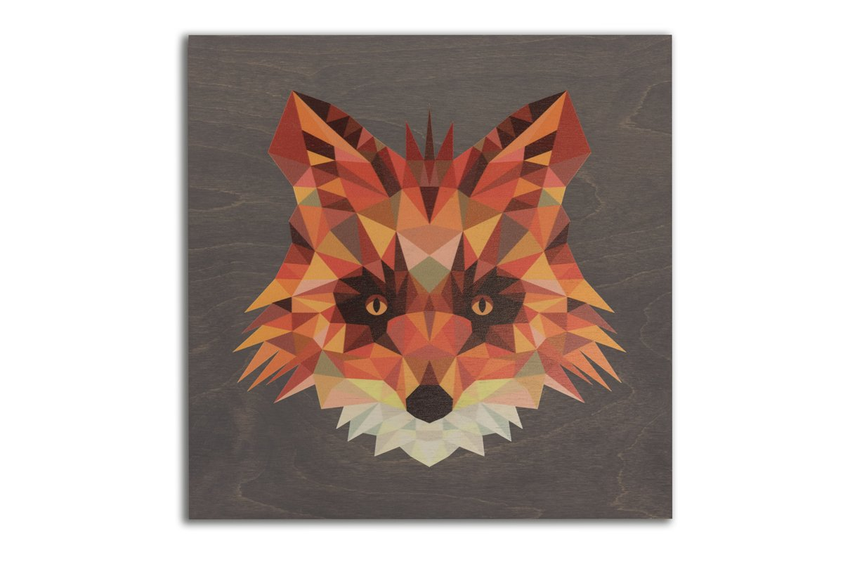 Clearance: Geometric Fox, 22 x 22 Grey