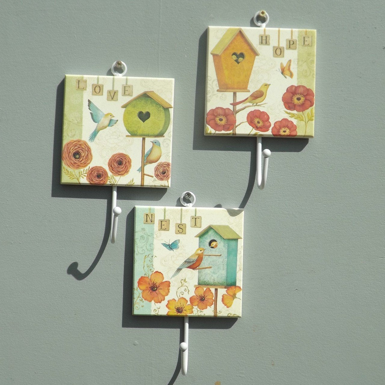 Set of Coat Hooks - Love, Nest, Hope