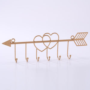 #COP3632 Metal Heart Shaped Wall Mounted Hooks Coat Rack