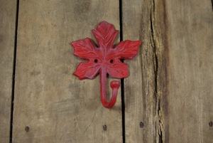 Maple Leaf Wall Hook Red