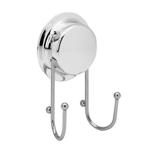 Harbour Housewares Suction Chrome Double Wall Hook for Bathroom & Kitchen
