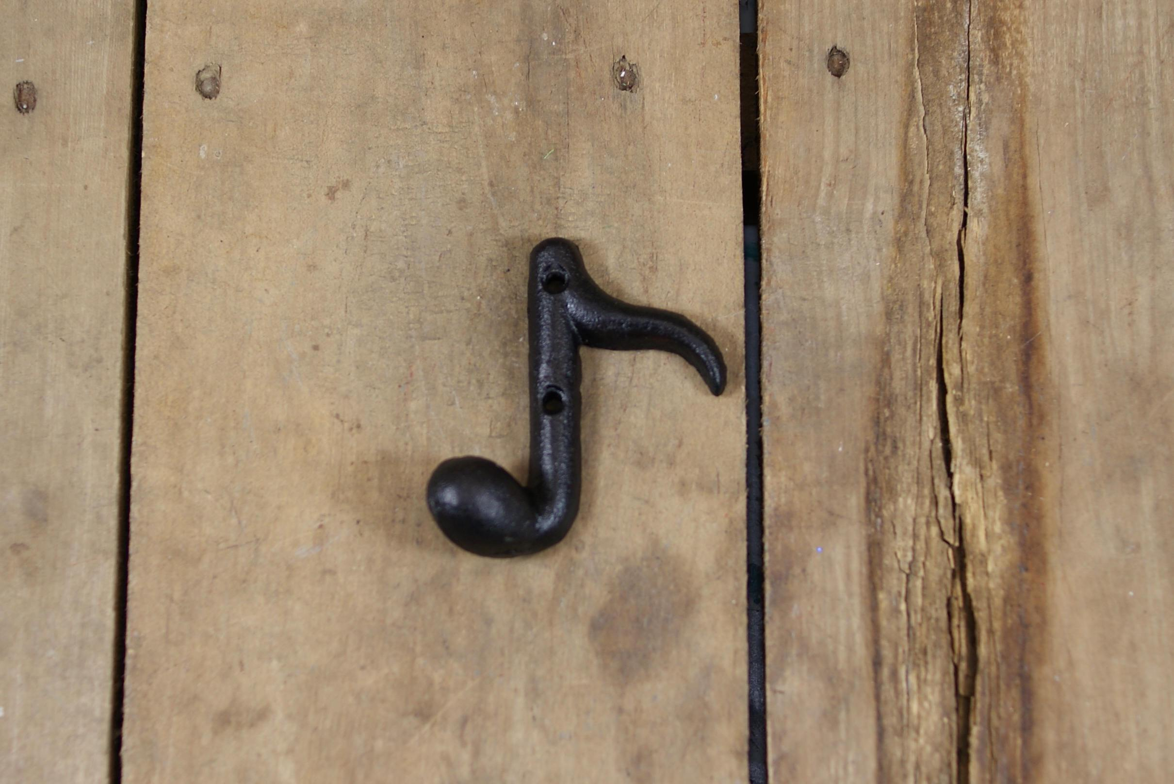 Cast Iron Eighth Note Wall Hook