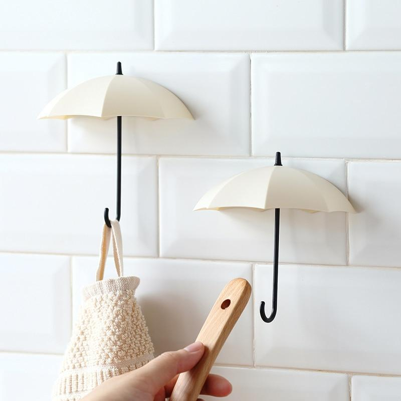 3Pcs/Lot Umbrella Shaped Creative Key Hanger Rack Home Decorative Holder Wall Hook For Kitchen